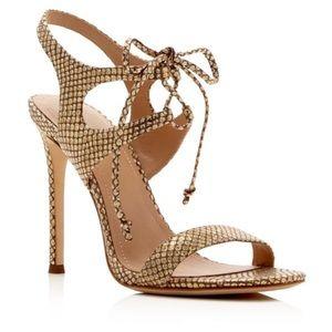 Pour La Victorie Gold Lace Up Heels 8.5